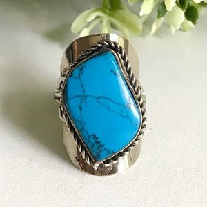 Handcrafted Peruvian Turquoise Adjustable Ring